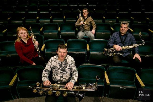 Le quatuor de saxophonistes montréalais Quasar, formé de... (PHOTO DAVID BOILY, LA PRESSE)