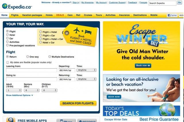 Le voyagiste en ligne américain Expedia a racheté son concurrent Travelocity... (Photo tirée du site www.expedia.ca)