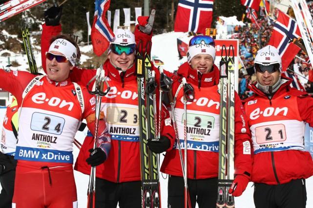 Emil Hegle Svendsen, Johannes Thingnes Boe, Tarjei Boe... (Photo Felice Calabro', AP)