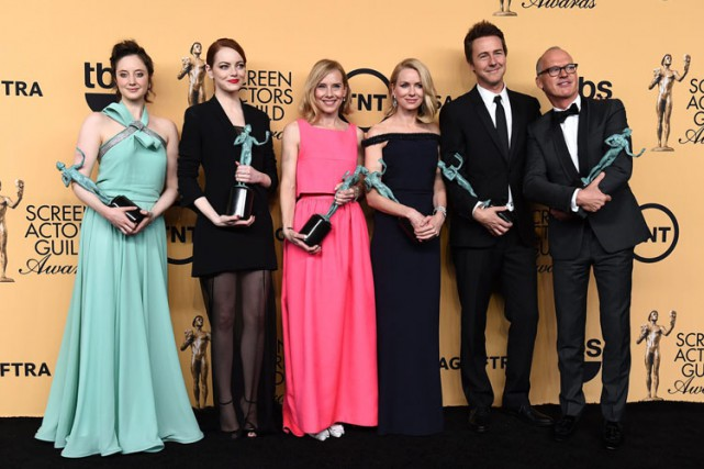 Les acteurs de Birdman Andrea Riseborough, Emma Stone,... (Photo: AP)