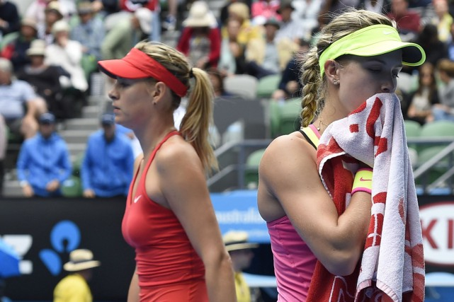 La Québécoise Eugenie Bouchard s'est inclinée 3-6, 2-6 face à la Russe Maria... (Associated Press)