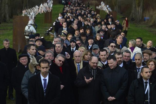 La cérémonie officielle a réuni à Oswiecim (nom... (Photo: AP)