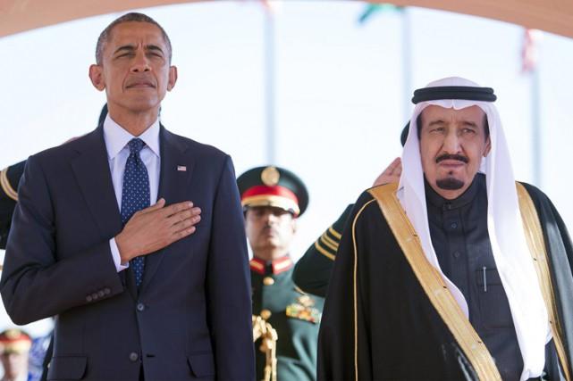 Barack Obama aux côtés du roi Salmane ben... (Photo: AP)