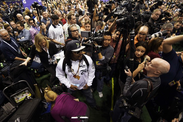 Marshawn Lynch, des Seahawks de Seattle, a participé... (PHOTO KYLE TERADA, USA TODAY)