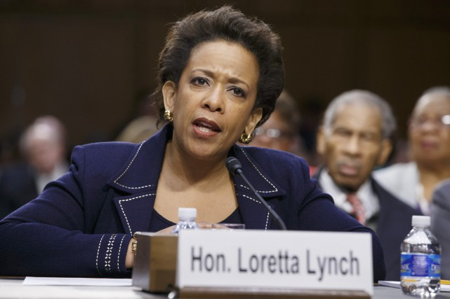 Loretta Lynch lors d'une audition devant la commission... (PHOTO J. SCOTT APPLEWHITE, AP)