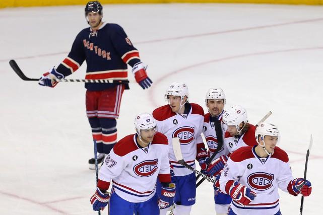 Le joueurs du Canadien festoient après le seul... (Photo Adam Hunger, USA Today)