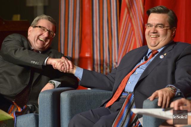 Régis Labeaume et Denis Coderre.... (Photothèque Le Soleil, Yan Doublet)