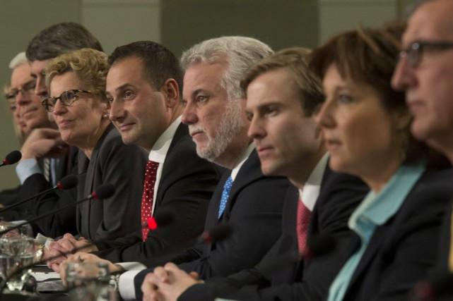 Réunis à Ottawa hier dans le cadre du... (Photo Adrian Wyld, La Presse canadienne)