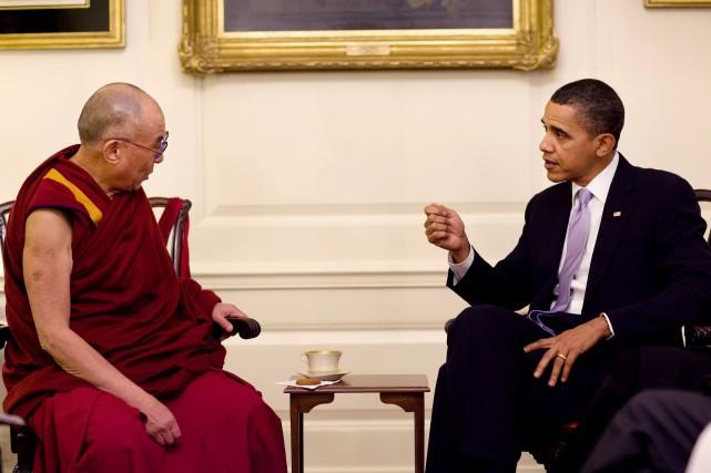 Le président Barack Obama et le dalaï-lama lors... (PHOTO ARCHIVES/ FOURNIE PAR LA MAISON-BLANCHE)