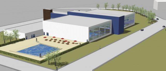 Une maquette du futur centre aquatique a été... (Illustration fournie par la Ville)