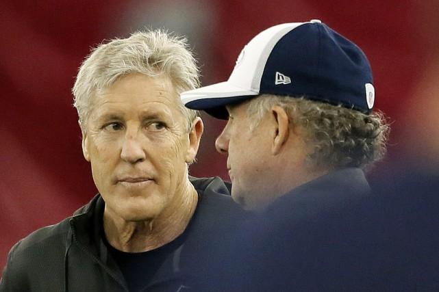 L'entraîneur des Seahawks,Pete Carroll.... (PHOTO MATT YORK, AP)