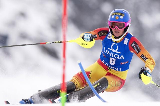 La spécialiste du slalom Marie-Michèle Gagnon, de Lac-Etchemin,... (PHOTO JOE KLAMAR, ARCHIVES AFP)