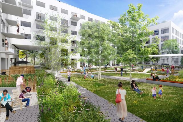 Une esquisse d'une cour intérieure du projet immobilier... (SDA/PROVENCHER ROY ASSOCIÉS ARCHITECTES INC.)