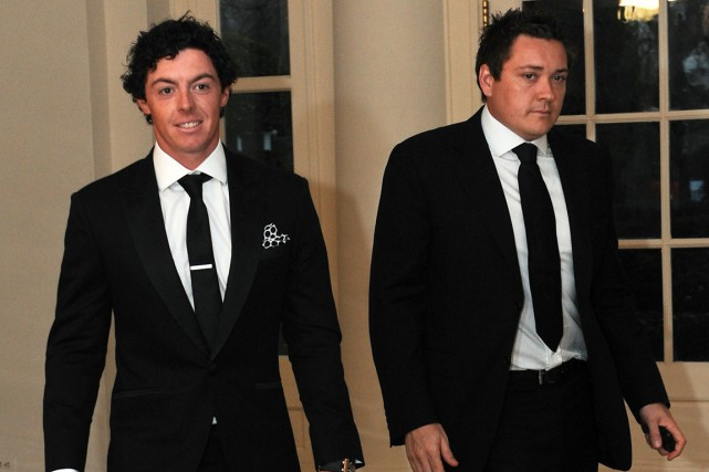 Rory McIlroy et son ancien agent Conor Ridge en... (Photo Nicholas Kamm, archives AFP)