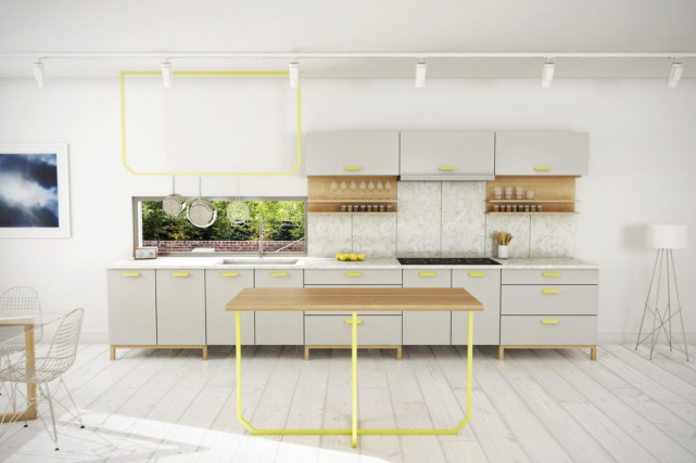 Vous voulez une cuisine d'inspiration scandinave, mais sans armoires de bois... (Illustration fournie par À Hauteur d'homme)