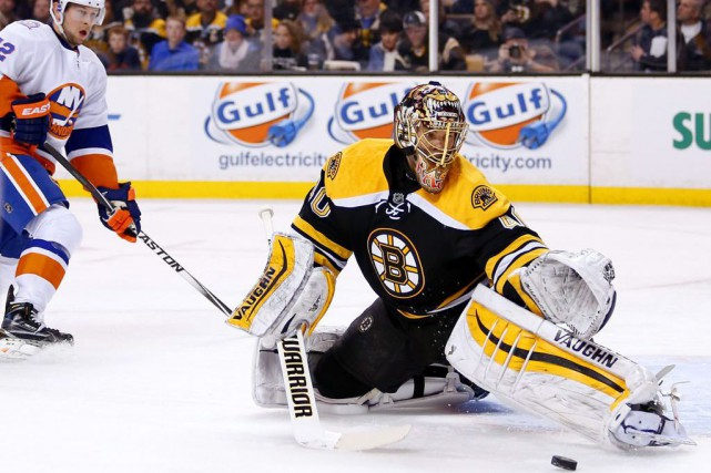 Tuukka Rask n'a alloué qu'un seul but sur... (PHOTO WINSLOW TOWSON, AP)