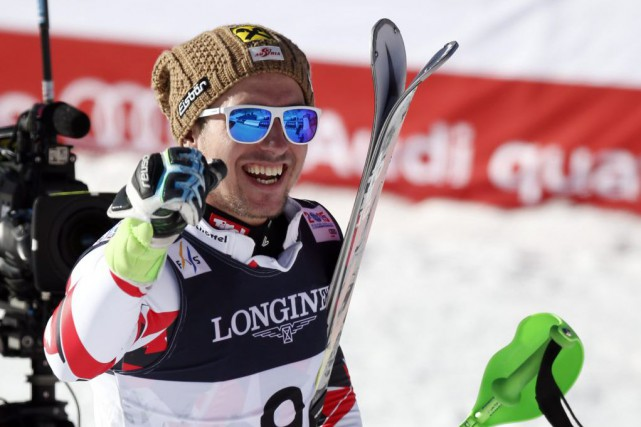 Marcel Hirscher a empoché le deuxième titre mondial de... (PHOTO JEFFREY SWINGER, USA TODAY)