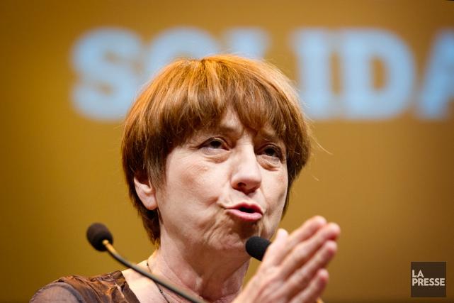 La cochef de QS, Françoise David, a encouragé... (Photothèque La Presse)