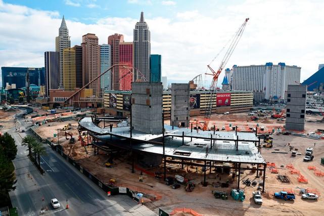 Le chantier du nouvel aréna de Las Vegas... (AFP, Ethan Miller)