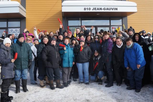 Les manifestants sont restés pacifiques et sont partis... (Photo fournie par la CSN Québec-Chaudière-Appalaches)