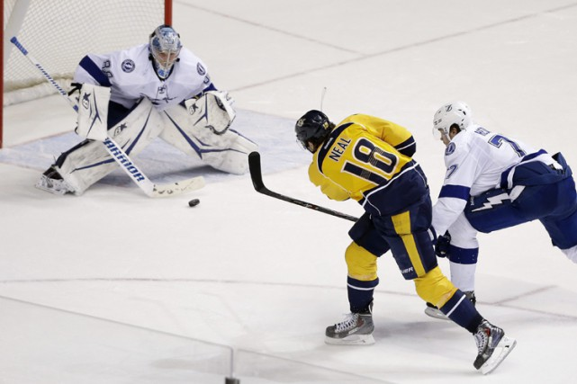 James Neal a marqué à 4:27 en prolongation et les Predators de Nashville ont... (Photo: AP)