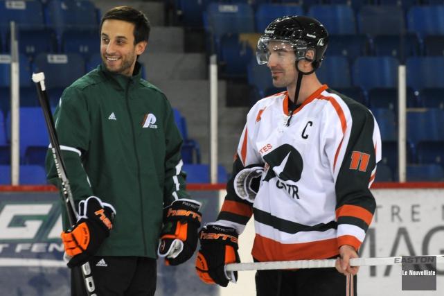 L'entraîneur-chef Marc-Étienne Hubert et le capitaine des Patriotes,... (Photo: François Gervais Le Nouvelliste)