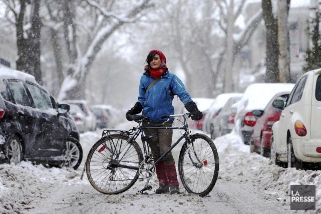 Magali Bebronne, cycliste d'hiver depuis 5 ans :... (Photo Martin Chamberland, La Presse)