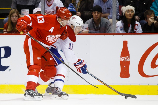 Pavel Datsyuk et Brendan Gallagher... (PHOTO RICK OSENTOSKI, ARCHIVES AP)