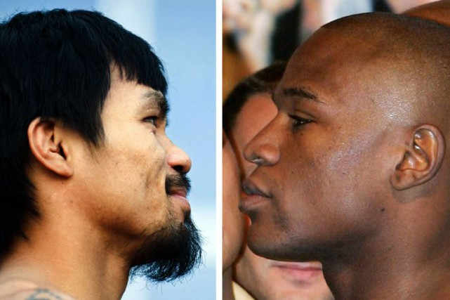Manny Pacquiao et Floyd Mayweather... (Photo: AFP)