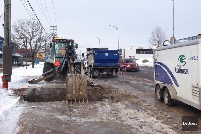 Un bris d'aqueduc est survenu mardi matin sur... (Patrick Woodbury, LeDroit)