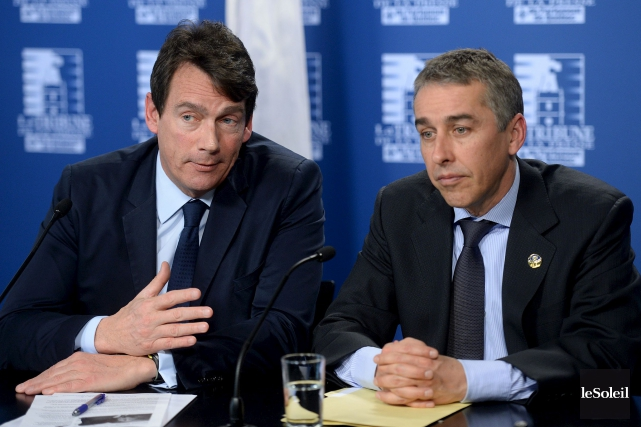 Le candidat à la chefferie Pierre Karl Péladeau... (Le Soleil, Erick Labbé)