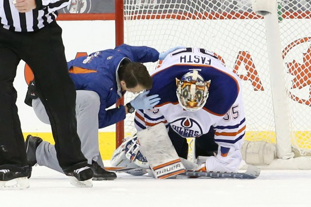 Le gardien des Oilers Viktor Fasth a subi... (Photo Bruce Fedyck, USA Today Sports)