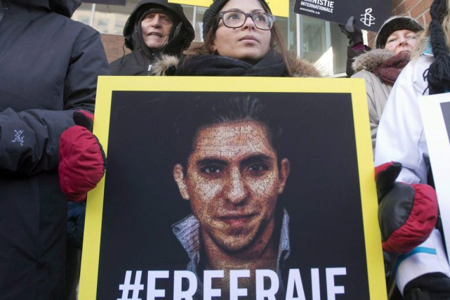 Ensaf Haidar, la femme de Raif Badawi, lors... (PHOTO RYAN REMIORZ, ARCHIVES LA PRESSE CANADIENNE)
