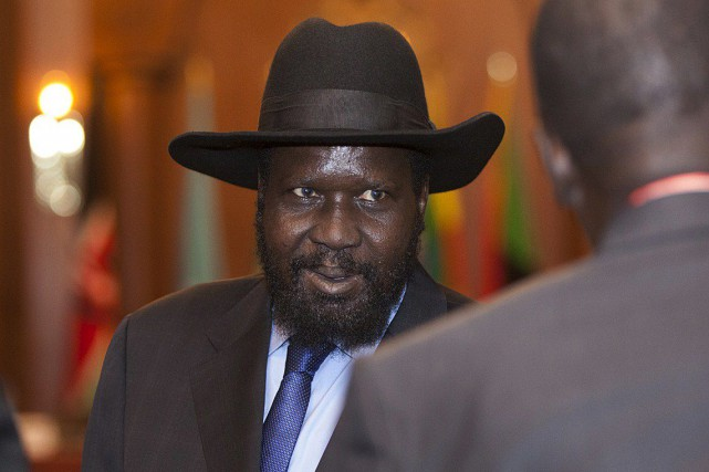 Le président du Soudan du Sud, Salva Kiir... (PHOTO ZACHARIAS ABUBEKER, ARCHIVES AFP)