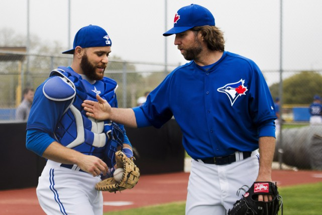 Russell Martin et R.A. Dickey lors du camp... (Photo: PC)