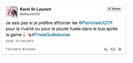 Le gardien des Redmen Karel St-Laurent se posait...