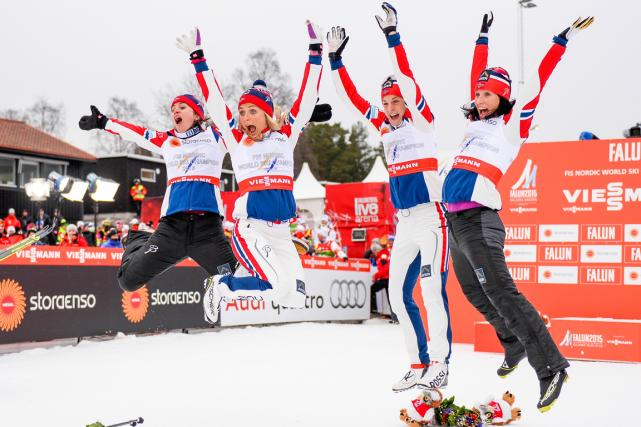 Les Norvégiennes Heidi Weng, Therese Johaug, Astrid Uhrenholdt... (Photo Jonathan Nackstrand, AFP)