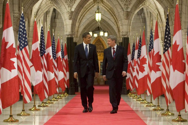 Harper et Obama, lors d'une rencontre en 2014.... (Photo archives PC)