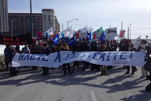 Le gouvernement québécois continue d'être pris à partie par les militants... (Photo fournie par la Coalition pour une justice sociale)