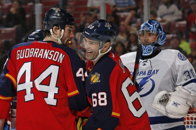 Jaromir Jagr a récolté son premier but dans l'uniforme des Panthers de la... (Photo: AP)