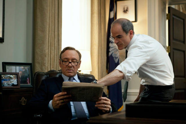 Kevin Spacey dans la peau de Frank Underwood... (PHOTO ASSOCIATED PRESS/NETFLIX)