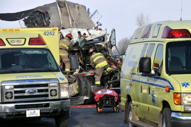 Un camionneur de 41ans a été transporté à l'hôpital Sainte-Croix de... (Photo collaboration spéciale, Éric Beaupré)