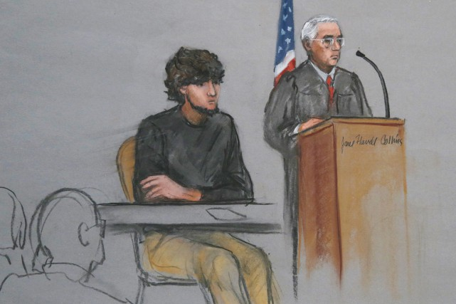 Djokhar Tsarnaev, détenu quasi à l'isolement depuis son arrestation,... (ILLUSTRATION JANE FLAVELL COLLINS, ARCHIVES AP)