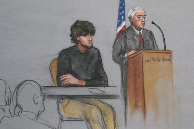 DjokharTsarnaev, détenu quasi à l'isolement depuis son arrestation,... (ILLUSTRATION JANE FLAVELL COLLINS, ARCHIVES AP)