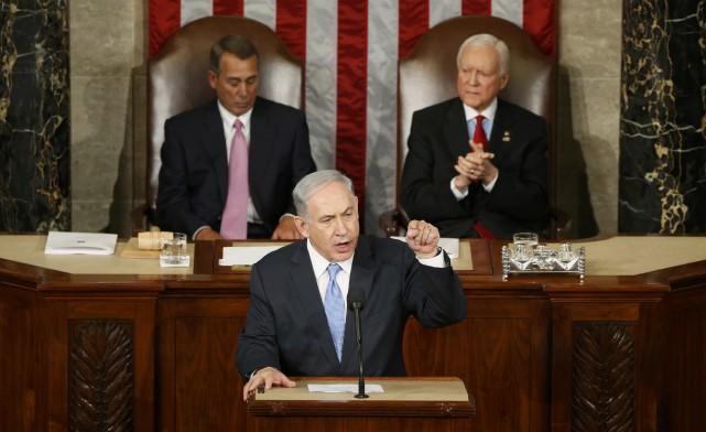 Le premier ministre israélien Benyamin Nétanyahou s'est adressé... (Photo Jonathan Ernst, Reuters)