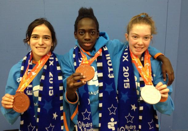 Les judokas Alicia Cossette, Dieu-Règne Makoumbou et Elisabeth... (Photo: Vincent Gauthier)