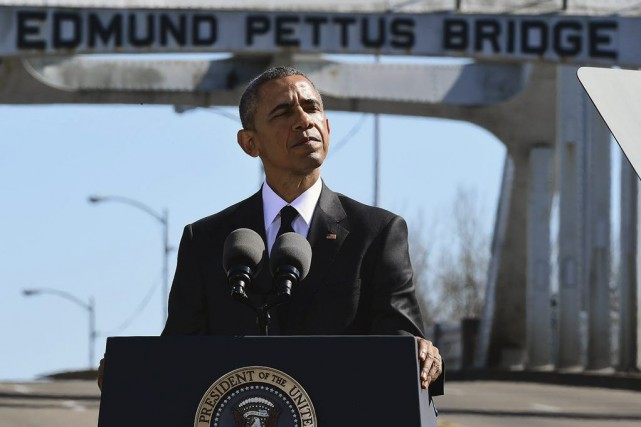 Barack Obama a prononcé samedi après-midiun discours devant... (Photo Bill Frakes, AP)