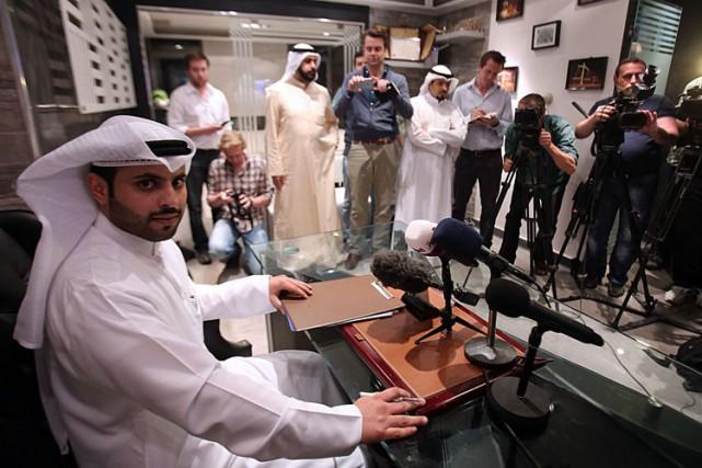 Salem al-Hashash en conférence de presse dimanche dans... (Photo: AFP)