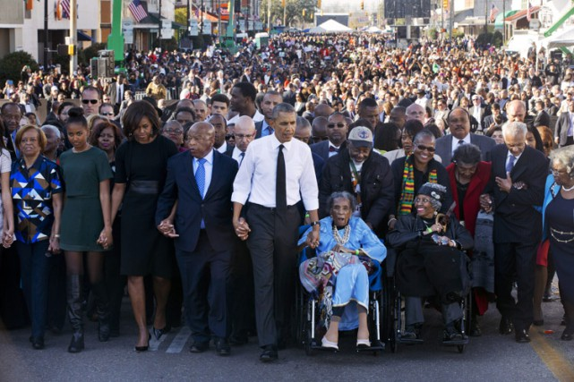 De passage à Selma, samedi, Barack Obama a... (PHOTO ASSOCIATED PRESS)