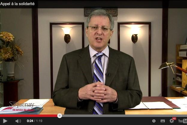 Le maire de Saguenay, Jean Tremblay, invite les syndicats et les travailleurs à... (Source Youtube.com)